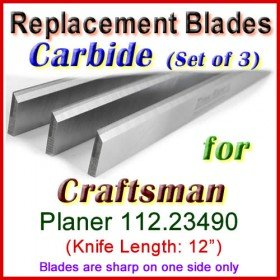 Set of 3 Carbide Blades for Craftsman 12'' Planer, 112.23490