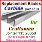 Set of 3 Carbide Blades for Craftsman 6'' Jointer, 113.20650