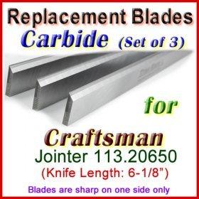 Set of 3 Carbide Blades for Craftsman 6'' Jointer, 113.20650