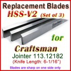 Set of 3 HSS Blades for Craftsman 6'' Jointer, 113.12182