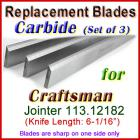Set of 3 Carbide Blades for Craftsman 6'' Jointer, 113.12182