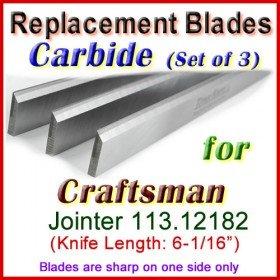 Set of 3 Carbide Blades for Craftsman 6'' Jointer, 113.12182