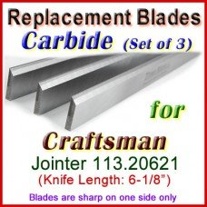 Set of 3 Carbide Blades for Craftsman 6'' Jointer, 113.20621
