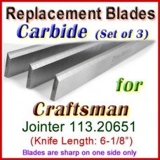 Set of 3 Carbide Blades for Craftsman 6'' Jointer, 113.20651