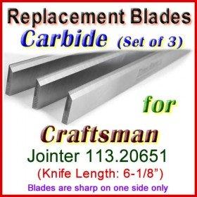 Set of 3 Carbide Blades for Craftsman 6'' Jointer, 113.20651