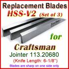 Set of 3 HSS Blades for Craftsman 6'' Jointer, 113.20680