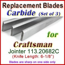 Set of 3 Carbide Blades for Craftsman 6'' Jointer, 113.20682C