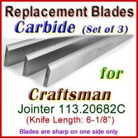 Set of 3 Carbide Blades for Craftsman 6'' Jointer, 113.20682C