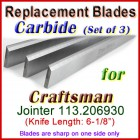 Set of 3 Carbide Blades for Craftsman 6'' Jointer, 113.206930