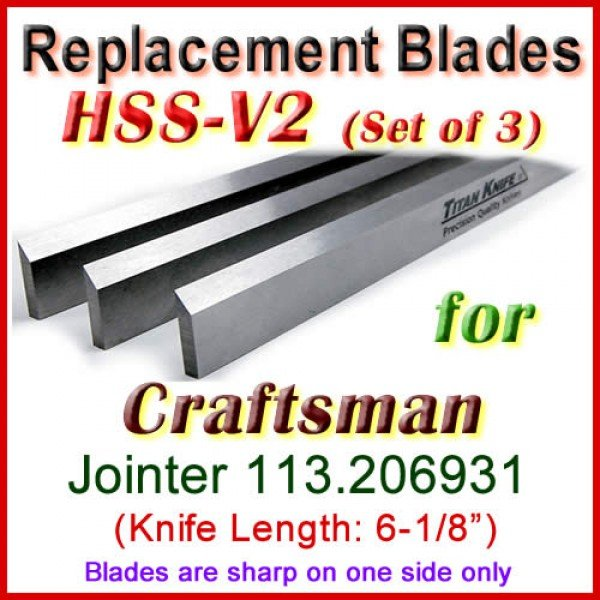 Set Of 3 Hss Blades For Craftsman 6 Jointer 113 206931