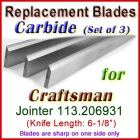 Set of 3 Carbide Blades for Craftsman 6'' Jointer, 113.206931
