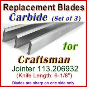 Set of 3 Carbide Blades for Craftsman 6'' Jointer, 113.206932