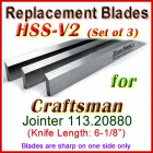Set of 3 HSS Blades for Craftsman 6'' Jointer, 113.20880