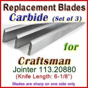 Set of 3 Carbide Blades for Craftsman 6'' Jointer, 113.20880
