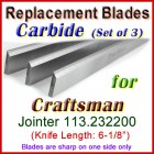 Set of 3 Carbide Blades for Craftsman 6'' Jointer, 113.232200