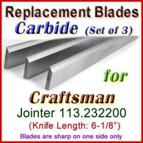 Set of 3 Carbide Blades for Craftsman 6'' Jointer, 113.232200