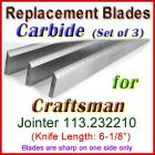 Set of 3 Carbide Blades for Craftsman 6'' Jointer, 113.232210