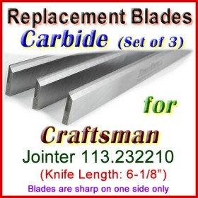 Set of 3 Carbide Blades for Craftsman 6'' Jointer, 113.232210