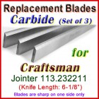 Set of 3 Carbide Blades for Craftsman 6'' Jointer, 113.232211