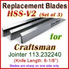 Set of 3 HSS Blades for Craftsman 6'' Jointer, 113.232240