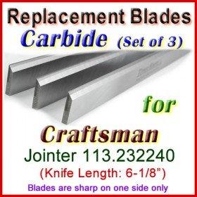 Set of 3 Carbide Blades for Craftsman 6'' Jointer, 113.232240