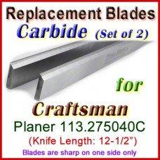 Set of 2 Carbide Blades for Craftsman 12-1/2'' Planer, 113.275040C