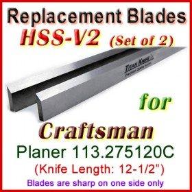 Set of 2 HSS Blades for Craftsman 12-1/2'' Planer, 113.275120C