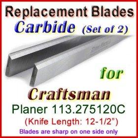 Set of 2 Carbide Blades for Craftsman 12-1/2'' Planer, 113.275120C