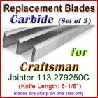 Set of 3 Carbide Blades for Craftsman 6'' Jointer, 113.279250C