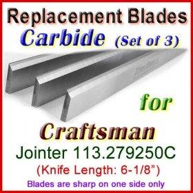 Set of 3 Carbide Blades for Craftsman 6'' Jointer, 113.279250C