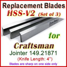 Set of 3 HSS Blades for Craftsman 4'' Jointer, 149.21871
