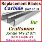 Set of 3 Carbide Blades for Craftsman 4'' Jointer, 149.21871