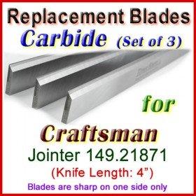 Set of 3 Carbide Blades for Craftsman 4'' Jointer, 149.21871
