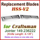 Set of 2 HSS Blades for Craftsman 4'' Jointer, 149.236222