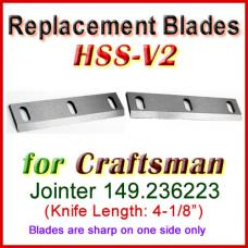 Set of 2 HSS Blades for Craftsman 4'' Jointer, 149.236223