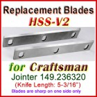 Set of 2 HSS Blades for Craftsman 5'' Jointer, 149.236320