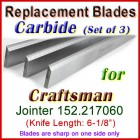 Set of 3 Carbide Blades for Craftsman 6'' Jointer, 152.217060