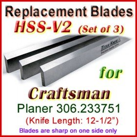 Set of 3 HSS Blades for Craftsman 12-1/2'' Planer, 306.233751