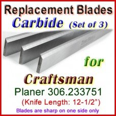 Set of 3 Carbide Blades for Craftsman 12-1/2'' Planer, 306.233751