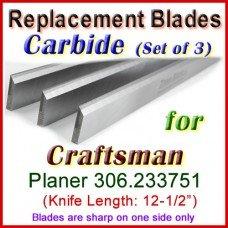Set of 3 Carbide Blades for Craftsman 12-1/2'' Planer, 306.233751