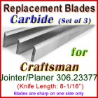 Set of 3 Carbide Blades for Craftsman 8'' Jointer, 306.23377