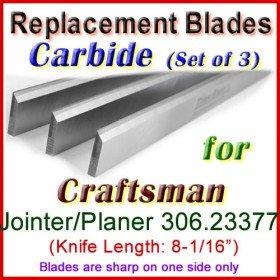 Set of 3 Carbide Blades for Craftsman 8'' Jointer, 306.23377