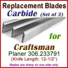 Set of 3 Carbide Blades for Craftsman 12'' Planer, 306.233791