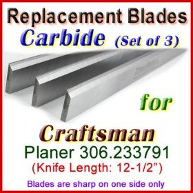 Set of 3 Carbide Blades for Craftsman 12'' Planer, 306.233791