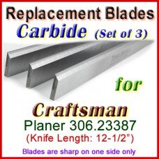 Set of 3 Carbide Blades for Craftsman 12'' Planer, 306.23387