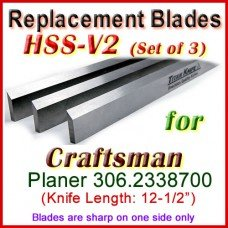 Set of 3 HSS Blades for Craftsman 12'' Planer, 306-2338700