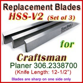 Set of 3 HSS Blades for Craftsman 12'' Planer, 306-2338700