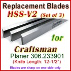 Set of 3 HSS Blades for Craftsman 12'' Planer, 306.233901
