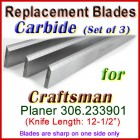Set of 3 Carbide Blades for Craftsman 12'' Planer, 306.233901