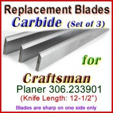 Set of 3 Carbide Blades for Craftsman 12'' Planer, 306.233901